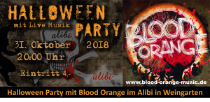 Halloween Party mit Blood Orange im Alibi in Weingarten @ Alibi